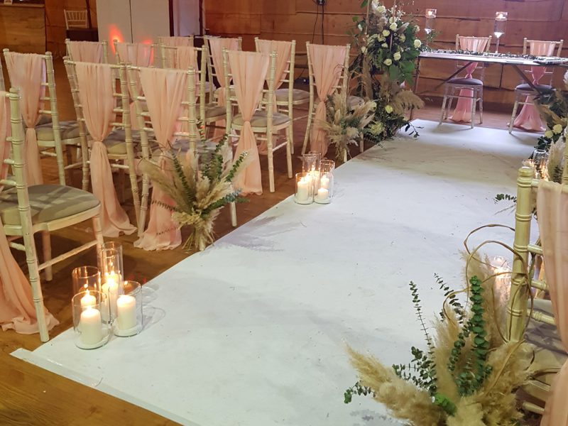 white-aisle-carpet-runner-glamour-events-hire-warrington