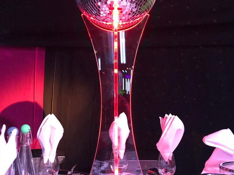 glitter ball centrepieces and event decoration hire. Glamour events hire based in Chester