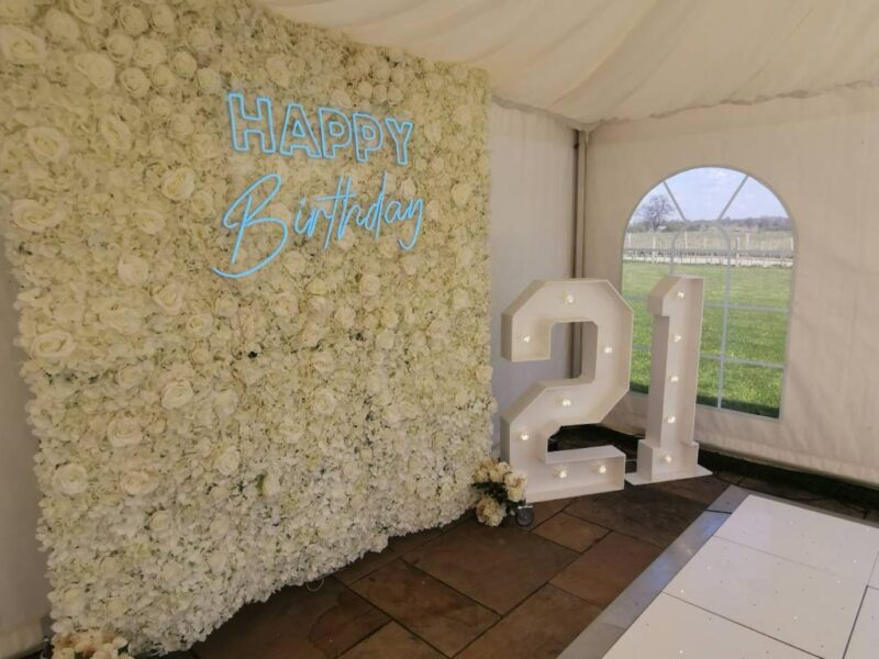 flower wall for weddings, events and birthdays. Glamour Events hire based in Chester