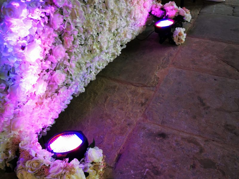 flower wall hire with uplighters