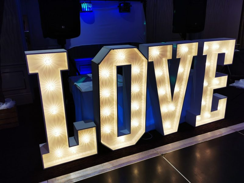 Giant, Love letters, chester, glamour events hire,