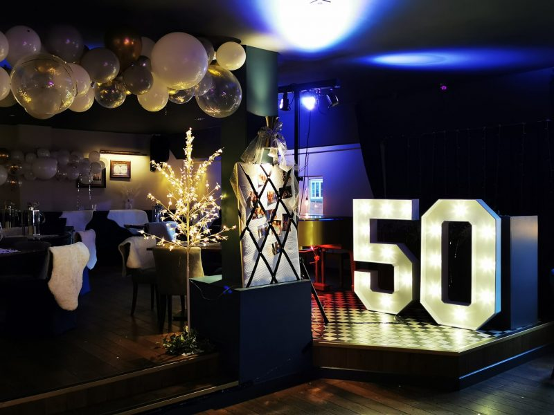 Light up numbers and balloons for 50th birthday party in chester.