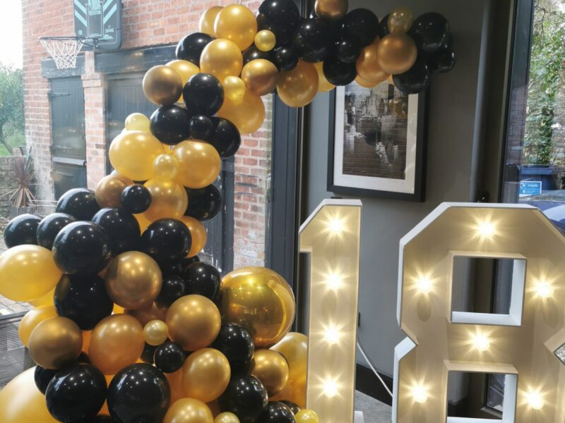 Light up numbers and balloons for 18th birthday party in chester.