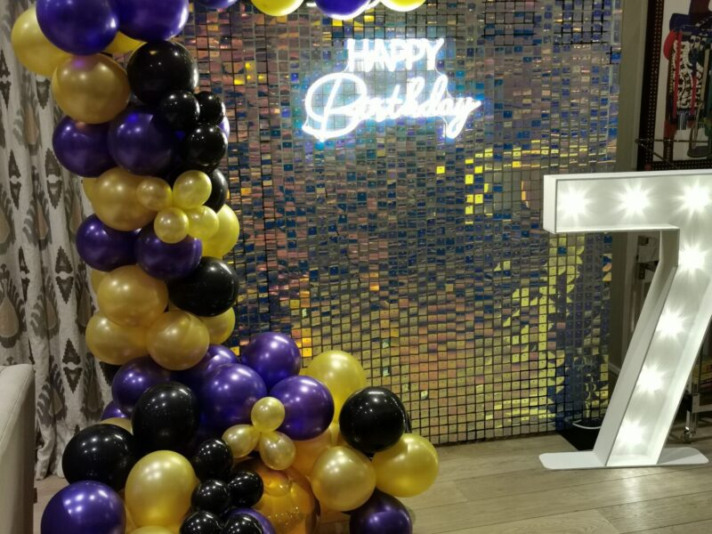 Happy birthday neon sign backdrop and sequin shimmer wall with balloon display. Glamour events hire based in chester