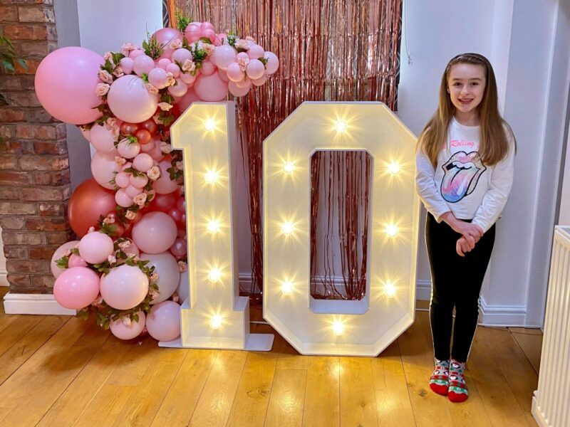 Light up numbers and letters for 10th birthday party with shimmer wall backdrop and balloonsin chester.