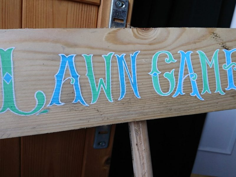 LAWN GAMES WOODEN SIGN