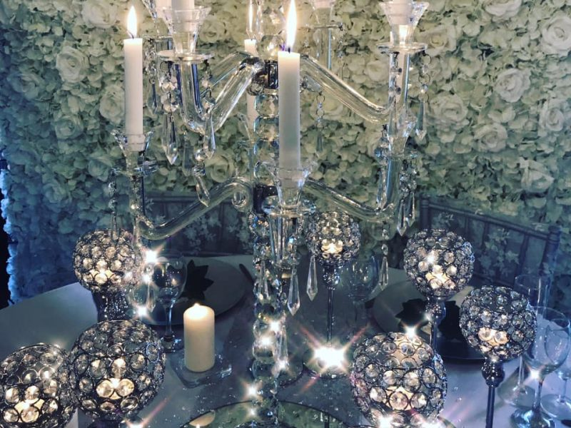 Artificial wedding flower centrepieces and flower wall and event decoration hire. Glamour events hire based in Chester