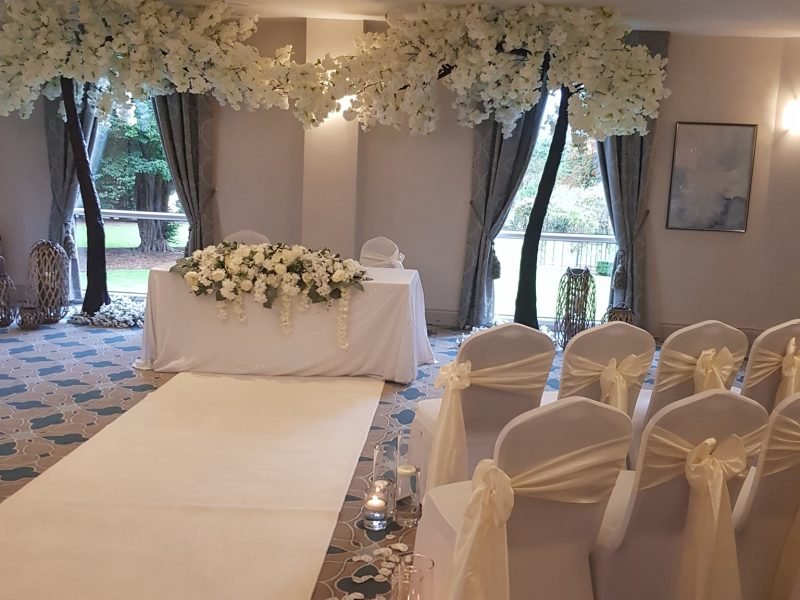Artificial wedding flower blossom trees and event decoration hire. Glamour events hire based in Chester
