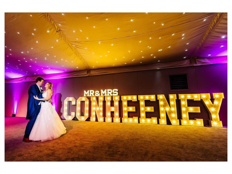 light up MR & MRS letters for weddings in chester